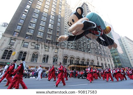 NEW YORK CITY, NY - NOVEMBER 24: Paul Frank Julius balloon floats in the Macy's 85th Annual Thanksgiving Day Parade on November 24, 2011 in New York City, New York.