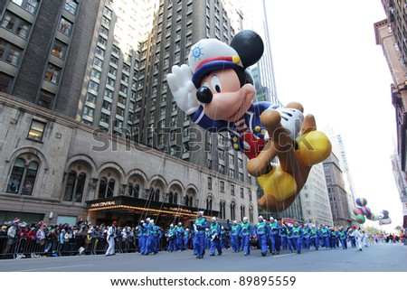 NEW YORK CITY, NY - NOVEMBER 24: Popular Cartoon Character Mickey Mouse balloon during the Macy's 85th Annual Thanksgiving Day Parade on November 24, 2011 in New York City, New York.