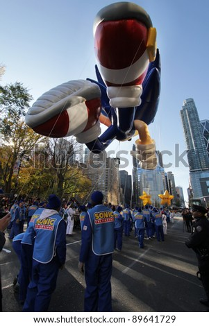 NEW YORK CITY, NY - NOVEMBER 24: Sega Sonic The Hedgehog flying into the city in the Macy's 85th Annual Thanksgiving Day Parade on November 24, 2011 in New York City, New York.