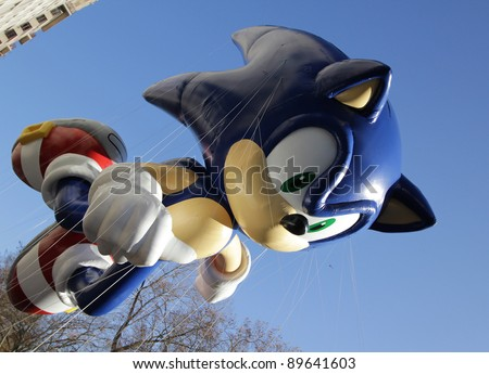 NEW YORK CITY, NY - NOVEMBER 24: Sega Sonic The Hedgehog flying through the city streets of the Macy's 85th Annual Thanksgiving Day Parade on November 24, 2011 in New York City, New York.