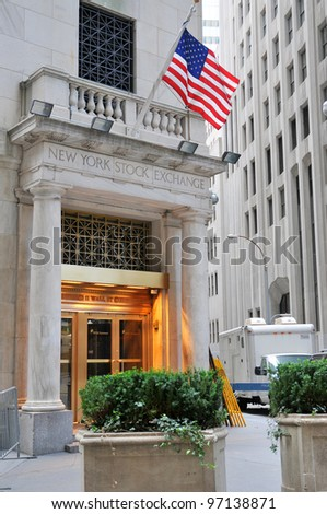 NEW YORK CITY, NY - OCTOBER 3: Wall Street New York Stock Exchange is the world's largest stock exchange by market capitalization of its listed companies. October 3, 2010 in Manhattan, New York City. - stock photo