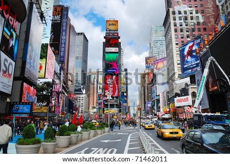 NEW YORK CITY, NY - SEP 5: Times Square is featured with Broadway Theaters and LED signs as a symbol of New York City and the United States, September 5, 2009 in Manhattan, New York City. - stock photo