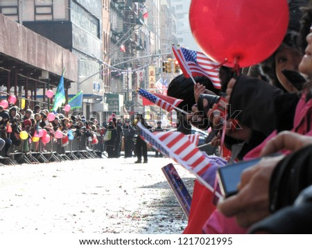 New York City, NY / USA - Februry 6, 2011: A shot of the Chinese Lunar New Year Parade in Chinatown. #1217021995