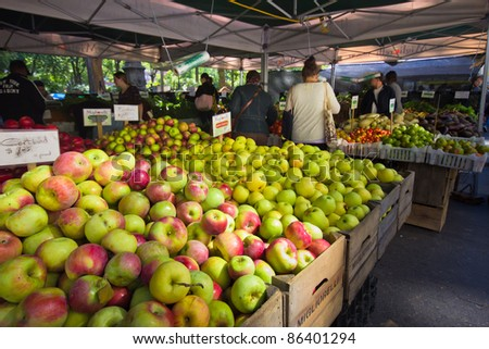 NEW YORK CITY - OCT. 7:  Apples and other produce are for sale at Union Square Greenmarket in New York City on Oct. 7, 2011.  This world famous farmers' market began in 1976 and has grown to 140 farmers during peak season.