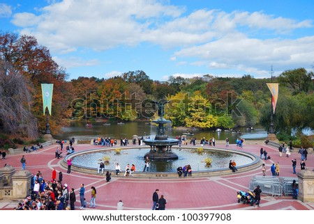 NEW YORK CITY - OCT 21: Central Park with visitors. It is a National Historic Landmark since 1963 and is the most visited urban park in the United States. October 21, 2010 in Manhattan, New York City.