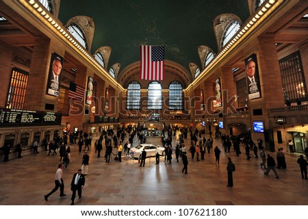 NEW YORK CITY - OCT 14: Historic NYC, Grand Central Terminal interior on October 14, 2009. The world's largest train station, Grand Central has more than 44 platforms and 67 tracks.