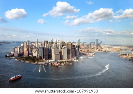 NEW YORK CITY - OCTOBER 13: Aerial view of  Manhattan Island New York City on October 13, 2009.Manhattan is the most densely populated and the oldest of the five boroughs of New York City.