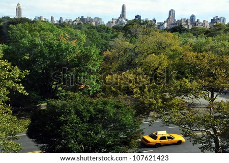 NEW YORK CITY - OCTOBER 10: General view of Central Park on October 10 2009 in Manhattan New York. The park initially opened in 1857, on 843 acres (3.41 km2) of city-owned land. - stock photo