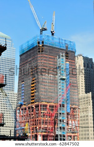 NEW YORK CITY - OCTOBER 11: One World Trade Center building under construction October 11, 2010 in New York, New York.