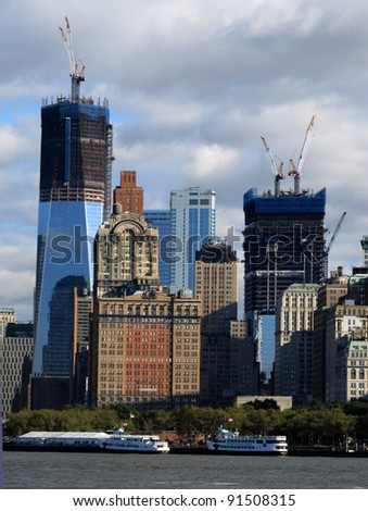 NEW YORK CITY - OCTOBER 21: One World Trade Center shown October 21, 2011 is estimated to be completed (at 1776 feet) in December 2012, but already rises above the other buildings in lower Manhattan