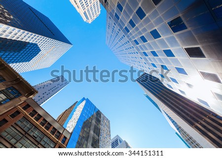 NEW YORK CITY - OCTOBER 13, 2015: skyscrapers in Manhattan, NYC. The metropolitan area NYC is one of the most important economy areas and commercial center of the world #344151311
