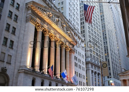 NEW YORK CITY - OCTOBER 13: The New York Stock Exchange at 11 Wall Street is the largest stock exchange in the world by market capitalization October 13, 2010 in New York, NY.
