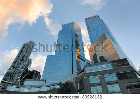 NEW YORK CITY - OCTOBER 21: The Time Warner Center is a mixed use high rise owned by Time Warner Cable which is currently expanding it's channel lineup October 21, 2010 in New York, NY. - stock photo