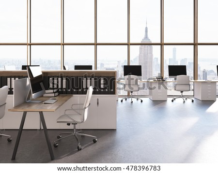 New York City office with computer tables, chairs and shelves with binders. Concept of call center. 3d rendering.