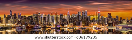 New York City panorama at sunrise with reflections in Hudson River (very detailed 81 megapixel photo)
