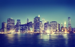 New York City Panorama Night Concept