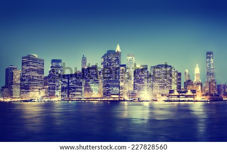New York City Panorama Night Concept #227828560