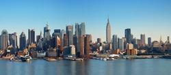 New York City panorama with Manhattan Skyline over Hudson River.