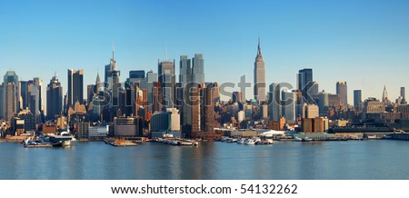 New York City panorama with Manhattan Skyline over Hudson River. - stock photo