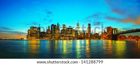 New York City panoramic cityscape in the evening at sunset #141288799