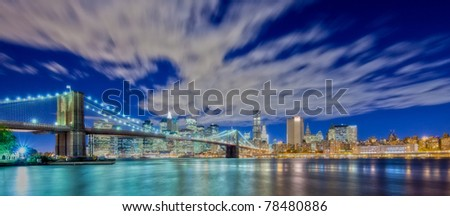New York City Panoramic with view of the financial district and Brooklyn Bridge