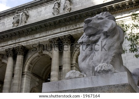 New York City Public Library Exterior with lion statue