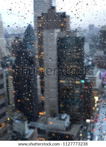 New York City, raining March 2018, shot from the Lipstick building, Midtown Manhattan! #1127773238