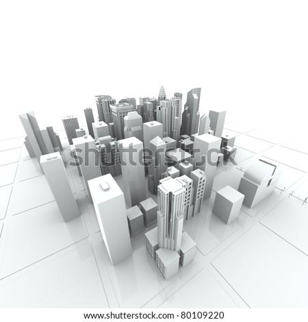 New York City (rendered, white, 3d)