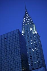 New York City's Chrysler Building lit up at night