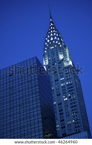 New York City's Chrysler Building lit up at night