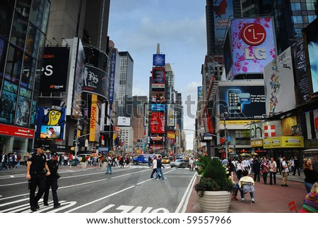 NEW YORK CITY - SEP 5: Times Square, featured with Broadway Theaters and huge number of LED signs, is a symbol of New York City and the United States, September 5, 2009 in Manhattan, New York City. - stock photo