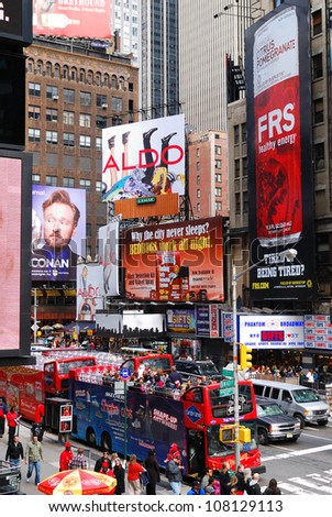 NEW YORK CITY - SEP 5: Times Square, featured with Broadway Theaters and LED signs, is a symbol of New York City and the United States, September 5, 2010 in Manhattan, New York City.