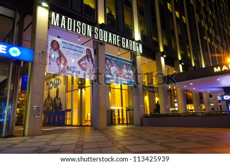 NEW YORK CITY - SEPT 13: Entrance to Madison Square Garden in New York City on Sept. 13, 2012. This landmark multi-purpose indoor arena, located above Penn Station. It opened February 1968.