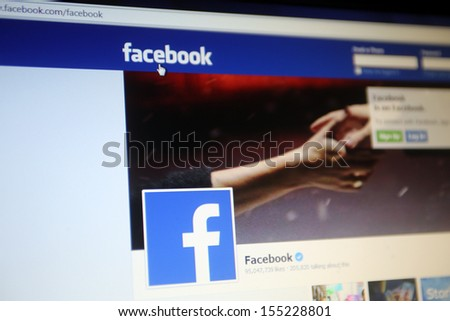 NEW YORK CITY - SEPT. 22: The home page of Facebook in New York City on Sunday, September 22, 2013.