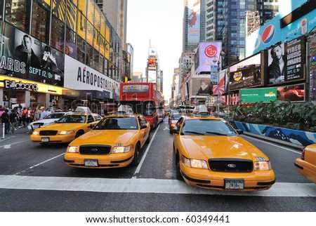 NEW YORK CITY - SEPTEMBER 4: Crown Victoria Taxis, which may be phased out for hybrids, on Broadway in Times Square, September 4, 2010 in New York City. - stock photo