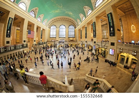NEW YORK CITY - SEPTEMBER 22: Famous New York City landmark Grand Central Station (has more than 44 tracks and 67 platforms) full of tourists and commuters on September 22, 2013 in New York, New York