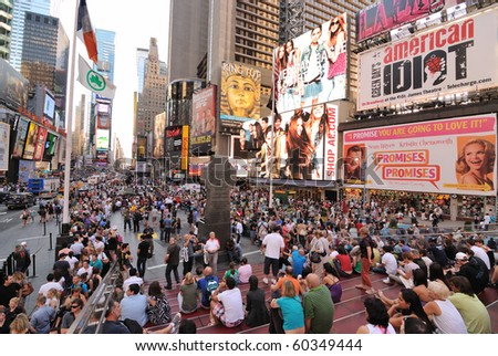 NEW YORK CITY - SEPTEMBER 4: Pedestrian malls full of crowds on a summer Saturday afternoon in Times Square September 4, 2010 in New York City.
