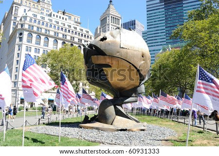 NEW YORK CITY - SEPTEMBER 11: The Sphere stood for 3 decades between the World Trade Center buildings and now stands damaged in Battery Park September 11, 2010 in New York, New York.