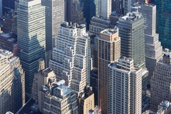 New York City skyline aerial view with modern skyscrapers and streets
