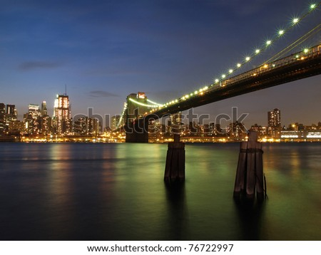 New York City Skyline and brooklyn bridge at dusk