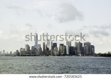 New York City skyline and cityscape taken from water ferry