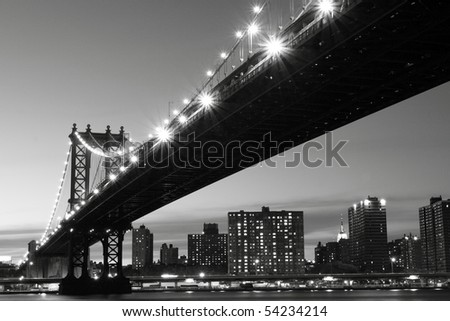 New York City Skyline and Manhattan Bridge At Night #54234214