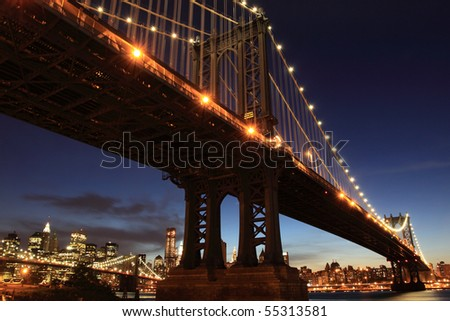 New York City Skyline and Manhattan Bridge At Night #55313581