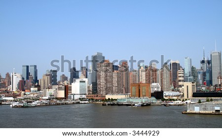 New York City Skyline and Pier against a blue sky 2