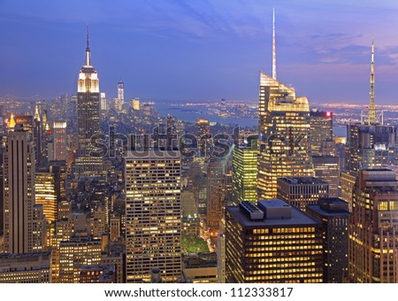 New York City skyline at dusk