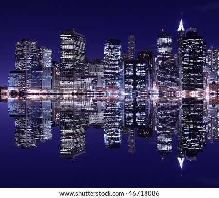 pictures of new york city at night. stock photo : New York City