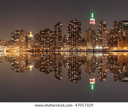 new york city skyline at sunset. stock photo : New York City
