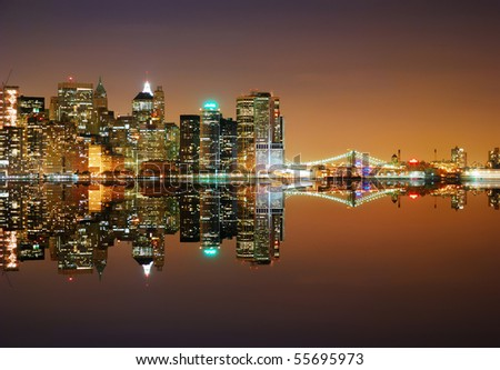 New York City Skyline at night with reflection - stock photo