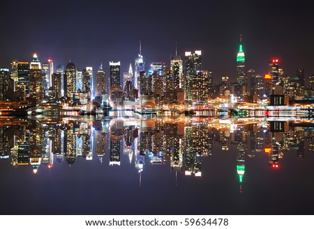 New York City Skyline at night with reflection