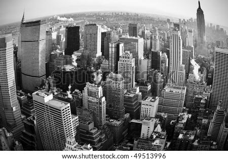 new york city skyline at sunset. stock photo : New York City